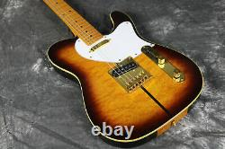 TL Electric Guitar Truff Dog Quilted Top Gold Hardware Thru Body Tobacco Color