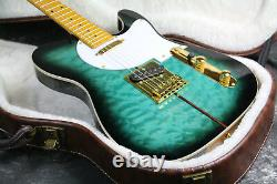 Top Quality Tuff Dog TL Electric Guitar Quilted Maple Top Blue Burst Gold Hardwa