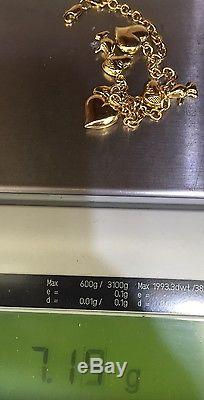Used 14k Solid Yellow Gold Bracelet with Snoopy Dog and Hearts 7.5 Inches