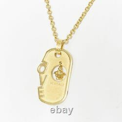 VERSACE gold tone nickel Love hanging Mesuda dog tag plate necklace