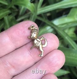 VINTAGE 1970 9k 9 ct gold puffy HUNTING DOG Pet + Rifle Charm pendant 4 necklace