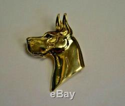 VINTAGE 3-D Dog Great Dane Charm Pin or Pendant Charm 14K Solid Gold Canine. 585
