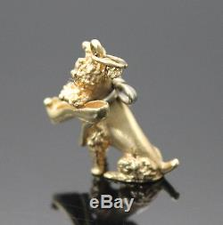 VINTAGE 3D DETAILED 3D DETAILED PLAYFUL DOG SHOE SOLID 14K YELLOW GOLD CHARM