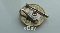 VINTAGE 9ct SOLID GOLD ALBERTINA WATCH CHAIN DOG CLASP CLIP + T BAR FOB PENDANT