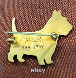Vantage Rare 14K Solid Gold Handcrafted Lovely Cairn Terrier Dog Brooch / Pin