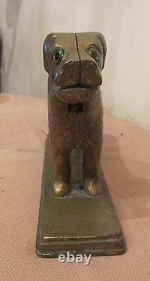 Very large antique gilded solid brass glass table figural heavy dog nut cracker