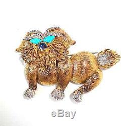 Vintage 1.76ct Diamond, Turquoise, Sapphire Solid 14K Y Gold Dog Brooch Fine