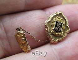 Vintage 10K Solid Gold 1934 Tie Pin WithBull Dog & High School S 3g Not Scrap