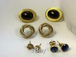 Vintage 10k 14k solid gold jewelry lot diamond ring Jade onyx dog Shell necklace