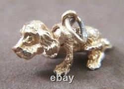 Vintage 14K Solid Yellow Gold 3D Mechanical Bobble Head Spaniel Puppy Dog Charm