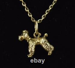 Vintage 14k Solid Yellow Gold Chain Necklace w French Poodle Dog Charm Pendant