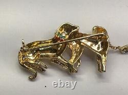 Vintage 18k Yellow Solid Gold Highly Detailed Two Dogs Pin Brooch Color Stones