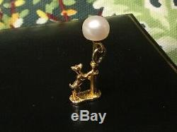 Vintage 9ct solid gold charm Dog at Lamp post +cultured pearl Lamp NUVO HM