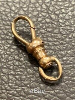 Vintage Antique Solid 14K White Gold Pocket Watch Dog Clip Swivel Clasp