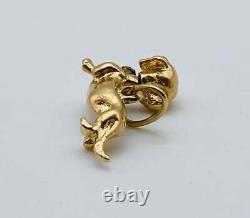 Vintage Awesome Solid 14k Yellow Gold Wiener Dog Charm Pendant! Free Shipping