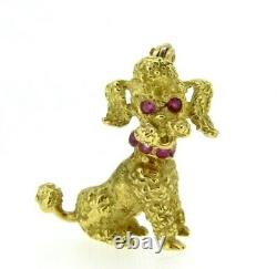 Vintage Brooch Years' 50 IN Gold Solid 18 Carats Dog Poodle Rubies Natural