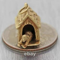 Vintage Estate Solid 14k Yellow Gold Man In Dog House Charm Pendant
