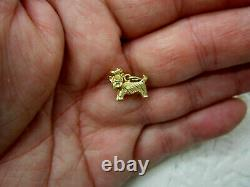 Vintage Small Adorable 14K Solid Yellow Gold Terrier Dog Charm Pendant