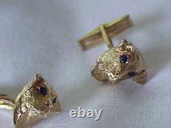 Vintage Solid 14k Yellow Gold Men's Dog Profile Cuff Links With Sapphire Eyes