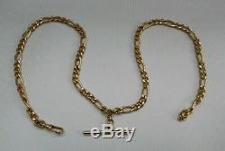 Vtg 1991 9ct Solid Gold Double Albert 18 Figaro Chain, T Bar & Dog Clip 11.62g