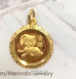 Zodiac 24K Solid Gold Dog Animal Sign Round Shape Charm/ Pendant, 3.70 Grams