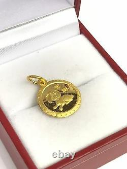 Zodiac 24K Solid Yellow Gold Animal Sign Round Dog- Puppy Charm/ Pendant, 1.90Gr