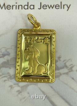 Zodiac Sign 24K Solid Yellow Gold Dog Rectangle Charm/ Pendant, 6.16 Grams